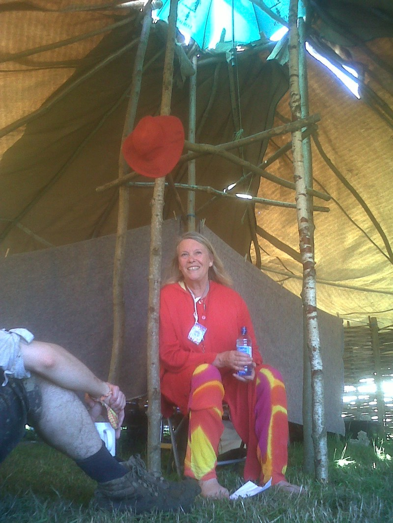 CHristine storytelling at Glastonbury