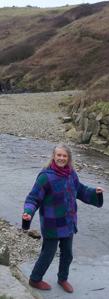 Christine beside the stream at Nant Ceibwr